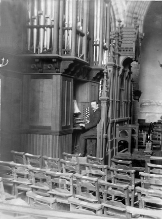 Dawson at the Willis Organ in St Machar's Cathedral, early 20th C